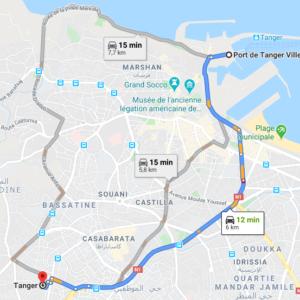 Traslado Puerto Tánger Ville a centro ciudad