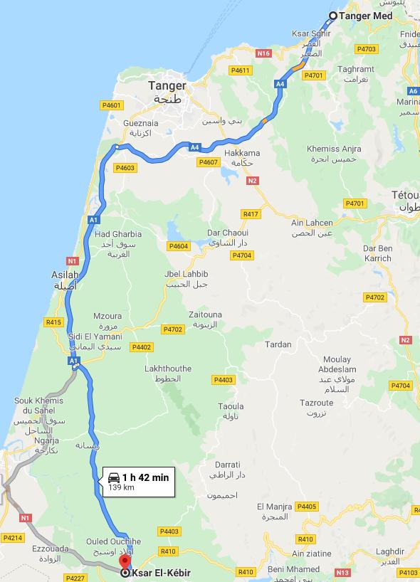 Traslado Puerto Tánger Med a Ksar El-Kébir